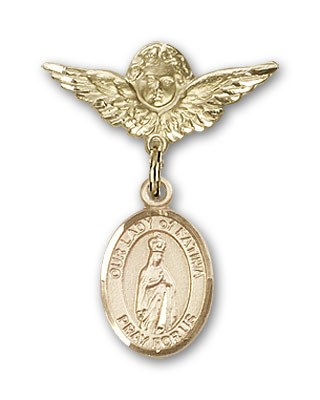Pin Badge with Our Lady of Fatima Charm and Angel with Smaller Wings Badge Pin - 14K Solid Gold