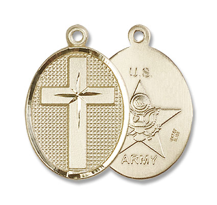 Cross Army Pendant - 14K Solid Gold