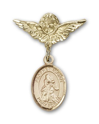 Pin Badge with St. Isaiah Charm and Angel with Smaller Wings Badge Pin - 14K Yellow Gold