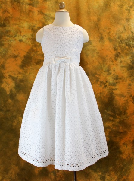 First Communion Dress with Cut Out Floral Designs, Size 6 only - White