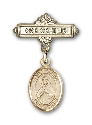 Pin Badge with St. Olivia Charm and Godchild Badge Pin - 14K Solid Gold