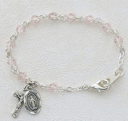 Baby Rosary Bracelet with Tin Cut Rose Crystal Beads - Rose