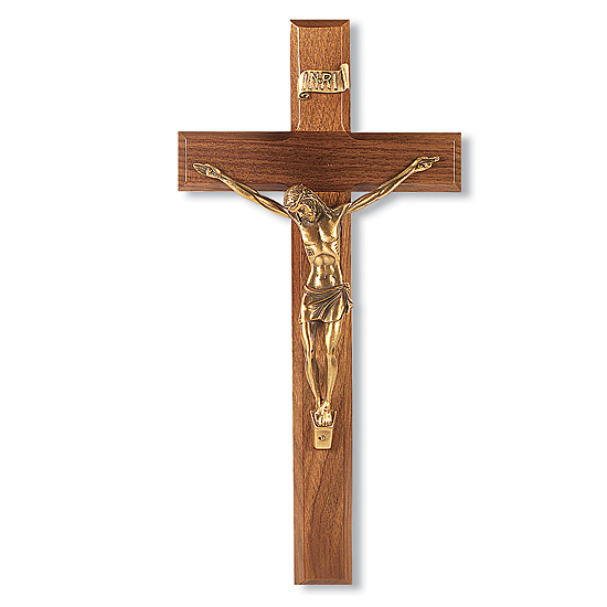 Wide Edge Slimline Walnut Wall Crucifix - 12 inch - Brown