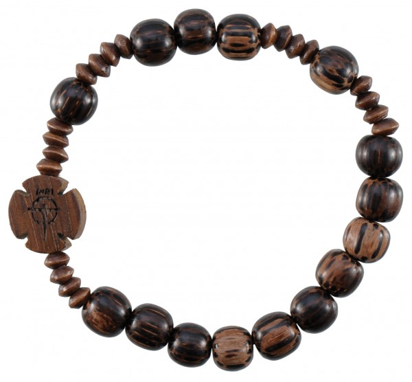 Wood Striped Cut Bead Rosary Bracelet - 8mm - Brown