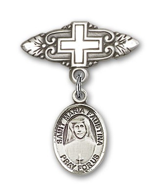 Pin Badge with St. Maria Faustina Charm and Badge Pin with Cross - Silver tone