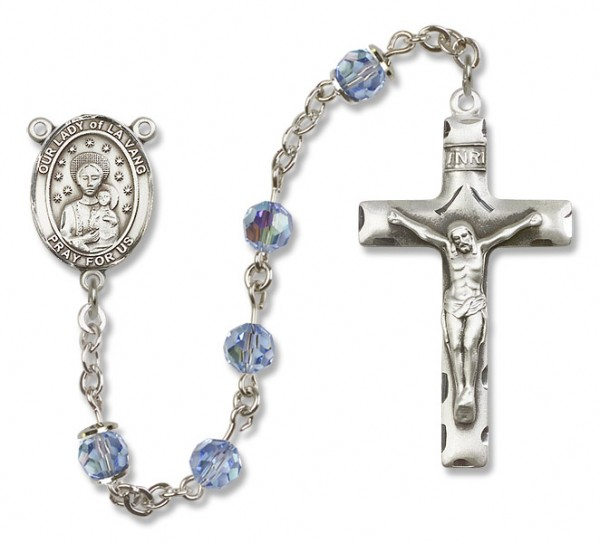 Our Lady of la Vang Rosary Heirloom Squared Crucifix - Light Sapphire