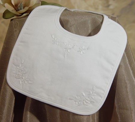 Girls Cotton Hand Embroidered Baptism Bib - White