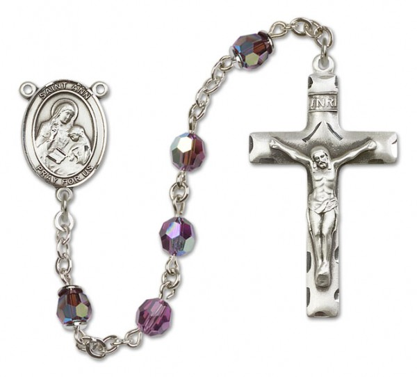 St. Ann Rosary Heirloom Squared Crucifix - Amethyst