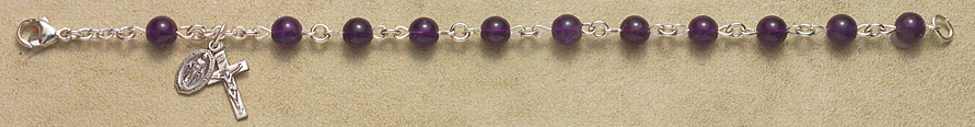 Rosary Bracelet - Sterling Silver with Amethyst Beads - Amethyst