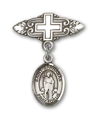 Pin Badge with St. Barnabas Charm and Badge Pin with Cross - Silver tone