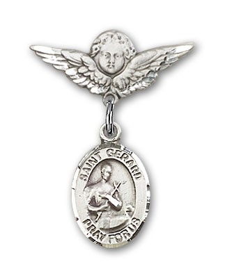 Pin Badge with St. Gerard Charm and Angel with Smaller Wings Badge Pin - Silver tone