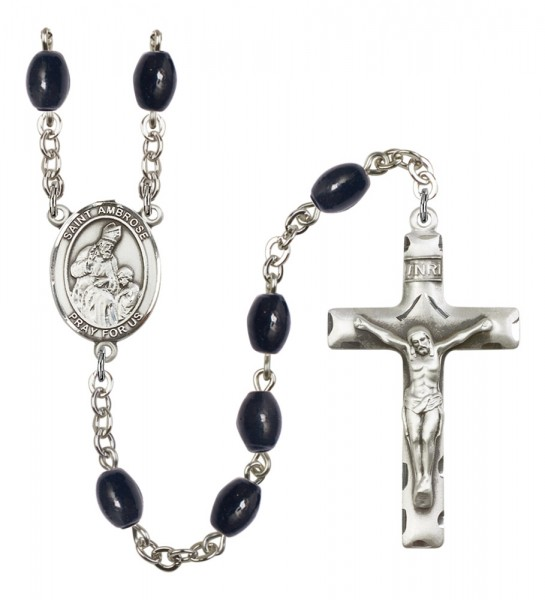 Men's St. Ambrose Silver Plated Rosary - Black Oval
