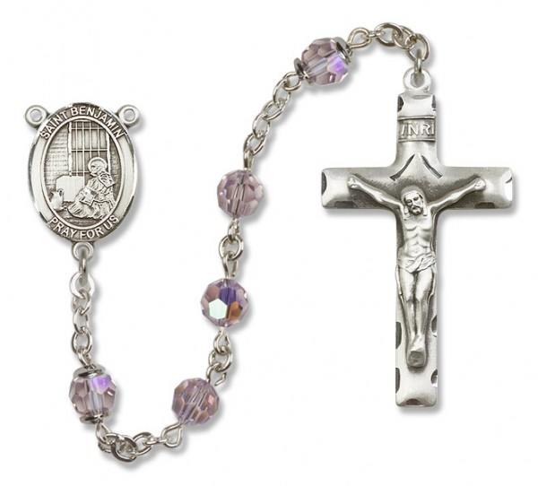 St. Benjamin Sterling Silver Heirloom Rosary Squared Crucifix - Light Amethyst