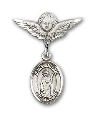 Pin Badge with St. Grace Charm and Angel with Smaller Wings Badge Pin - Silver tone