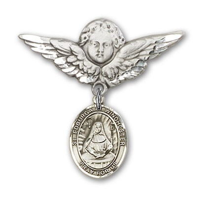 Pin Badge with St. Edburga of Winchester Charm and Angel with Larger Wings Badge Pin - Silver tone