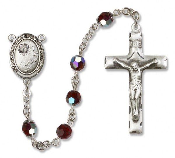 Footprints Cross Sterling Silver Heirloom Rosary Squared Crucifix - Garnet