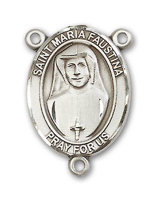 St. Maria Faustina Rosary Centerpiece Sterling Silver or Pewter - Sterling Silver