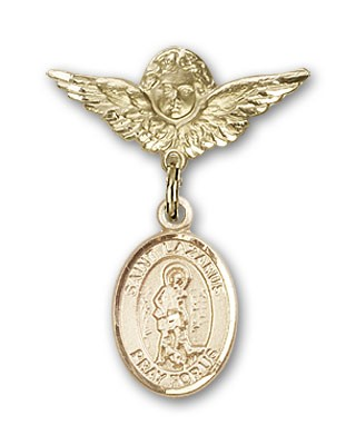 Pin Badge with St. Lazarus Charm and Angel with Smaller Wings Badge Pin - 14K Solid Gold
