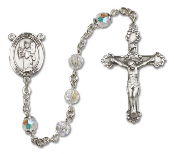 St. Uriel Sterling Silver Heirloom Rosary Fancy Crucifix - Crystal