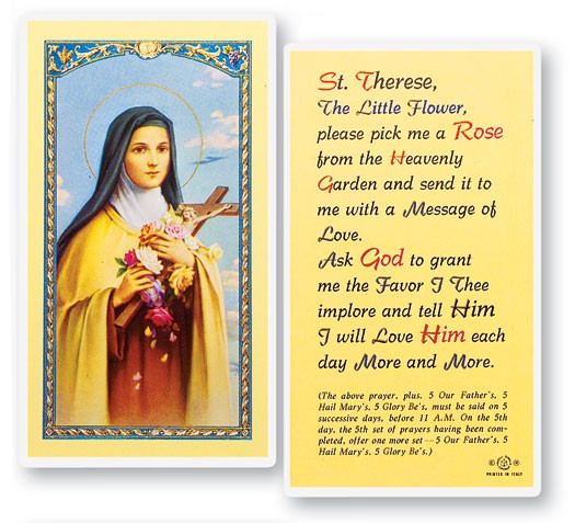 St. Therese Pick Me A Rose Laminated Prayer Cards 25 Pack - Full Color