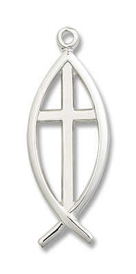 Men's Ichthus Fish with Cross Pendant - Sterling Silver
