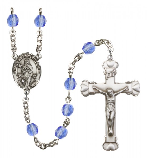 Women's Our Lady of Assumption Birthstone Rosary - Sapphire