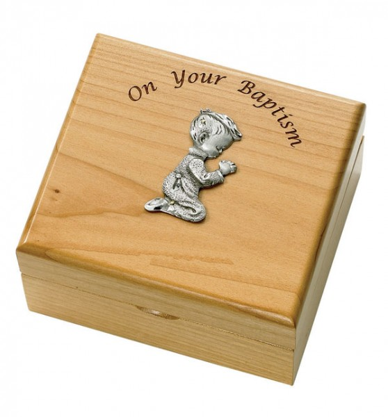 Boy's Baptism Maple Wood Keepsake Box - Light Brown