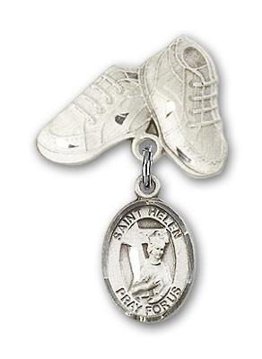 Pin Badge with St. Helen Charm and Baby Boots Pin - Silver tone