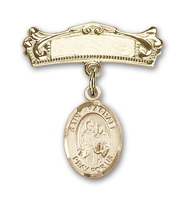 Pin Badge with St. Raphael the Archangel Charm and Arched Polished Engravable Badge Pin - 14K Yellow Gold