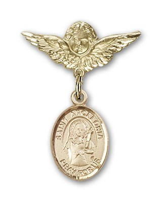 Pin Badge with St. Apollonia Charm and Angel with Smaller Wings Badge Pin - 14K Yellow Gold