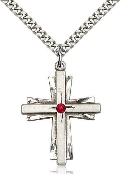 Large Women's Cross on Cross Pendant with Birthstone Options - Ruby Red