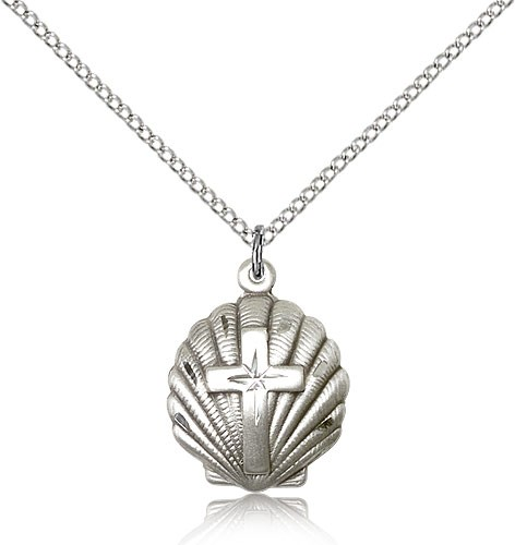 Cross Pendant Baptism Shell - Sterling Silver