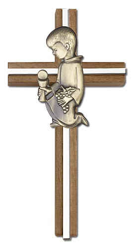 First Communion Boy Wall Cross in Walnut and Metal Inlay - 6 inch  - Two-Tone Silver
