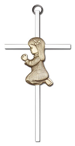 "Praying Girl Cross  6"" - Two-Tone Silver"