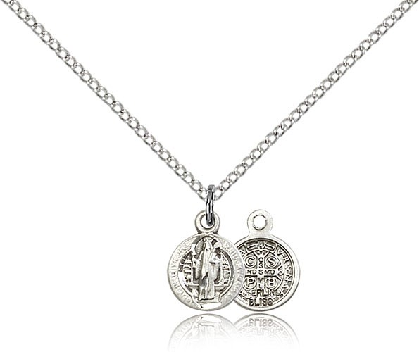 Petite Round St. Benedict Medal - Sterling Silver