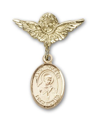 Pin Badge with St. Robert Bellarmine Charm and Angel with Smaller Wings Badge Pin - 14K Solid Gold