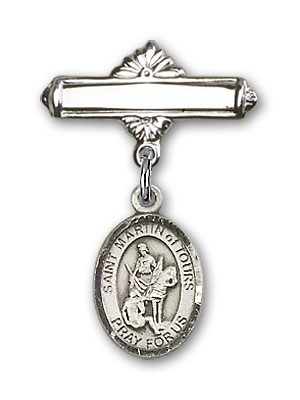 Pin Badge with St. Martin of Tours Charm and Polished Engravable Badge Pin - Silver tone