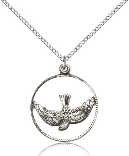Women's Open Circle Holy Spirit Medal - Sterling Silver