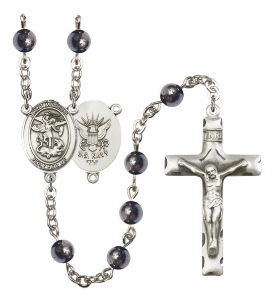 Men's St. Michael Navy Silver Plated Rosary - Gray