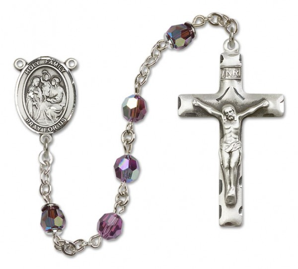 Holy Family Rosary Heirloom Squared Crucifix - Amethyst