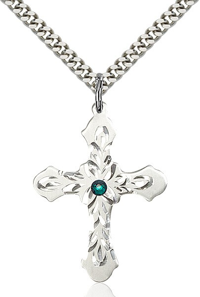 Floral and Petal Cross Pendant with Birthstone Options - Emerald Green