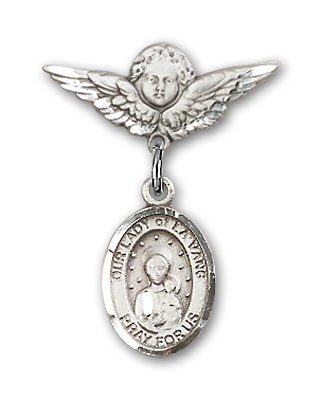 Pin Badge with Our Lady of la Vang Charm and Angel with Smaller Wings Badge Pin - Silver tone