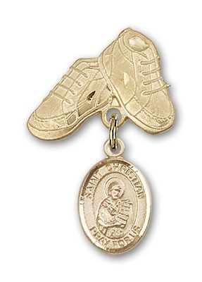 Pin Badge with St. Christian Demosthenes Charm and Baby Boots Pin - 14K Yellow Gold
