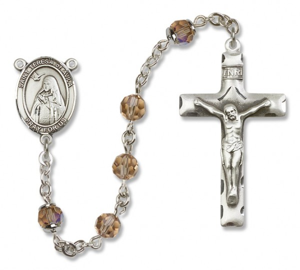 St. Teresa of Avila Sterling Silver Heirloom Rosary Squared Crucifix - Topaz