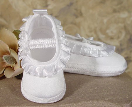 Girls Satin Shoe with Pleated Ribbon - White