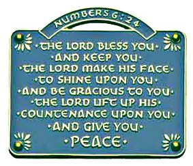 The Lord Bless You and Keep You Wall Plaque - 2.5 inches - Blue