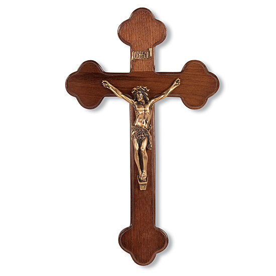 Latin Style Walnut Crucifix with Gold tone Corpus - 10 inch - Brown