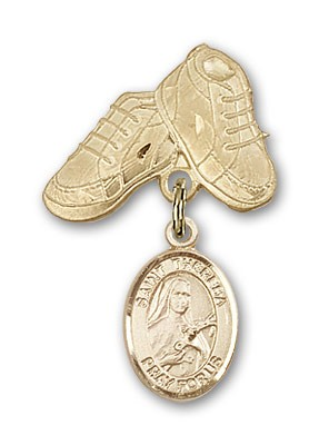 Pin Badge with St. Theresa Charm and Baby Boots Pin - 14K Solid Gold