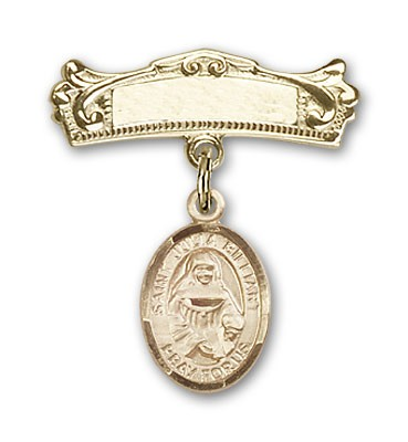 Pin Badge with St. Julia Billiart Charm and Arched Polished Engravable Badge Pin - 14K Yellow Gold