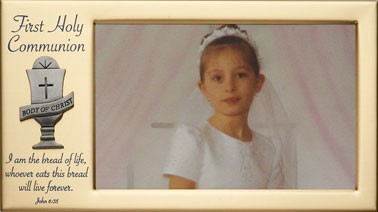 First Communion Photo Frame   - Brass